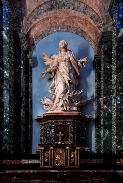 A sculpture depicting St. Agnes in flames, Church of Sant'Agnese in Agone