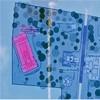 Plan parku archeologicznego przy via Latina z zaznaczonym (na różowo) kościołem San Stefano Protomartire