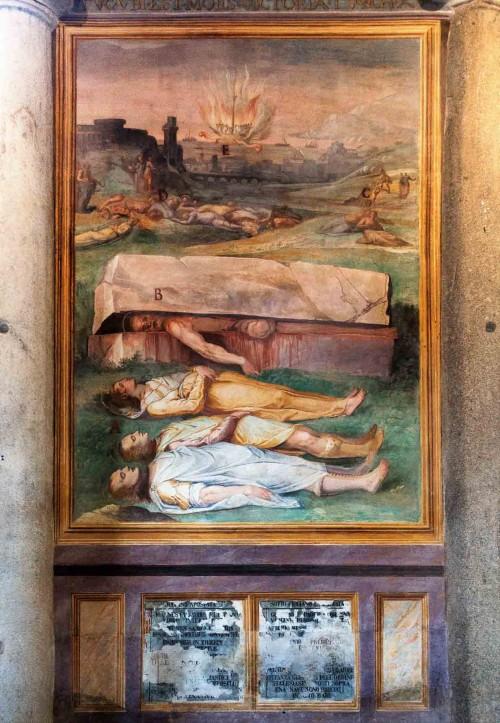 San Stefano Rotondo, fresk ze sceną męczeństwa śś. Jana, Pawła, Artemiusa, Bibiany i innych, Pomarancio