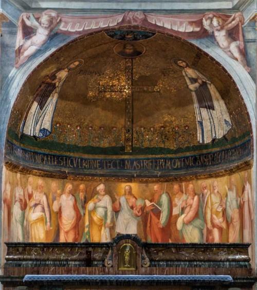 San Stefano Rotondo, mozaika w absydzie z przedstawieniem śś. Prymusa i Felicjana, poniżej freski z końca XVI w.