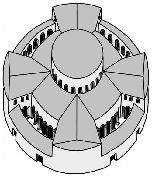 San Stefano Rotondo, plan pierwotnego założenia, zdj. Wikipedia