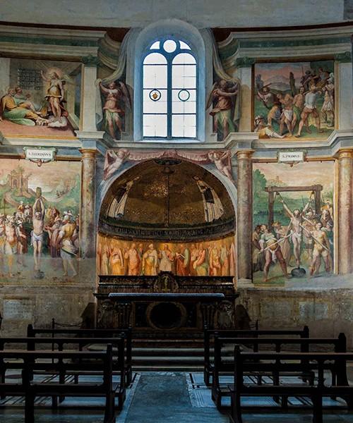 San Stefano Rotondo, widok kaplicy śś. Prymusa i Felicjana