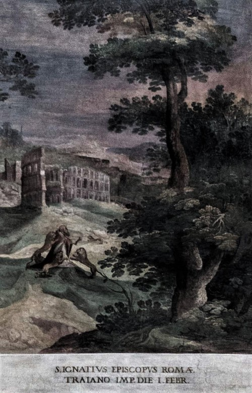 San Vitale,painting decoration of the church interior – The Death of St. Ignatius with the Colosseum in the background