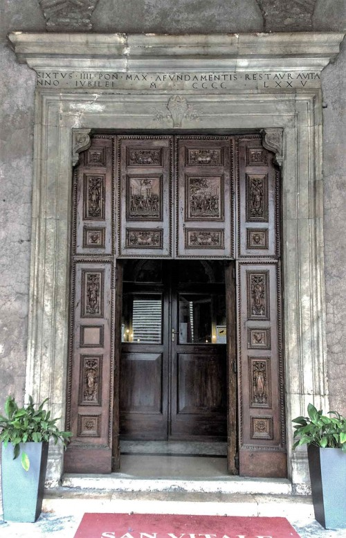 Basilica San Vitale, enterance door with scenes of the Martyrdom of SS Gervasius and Protasius