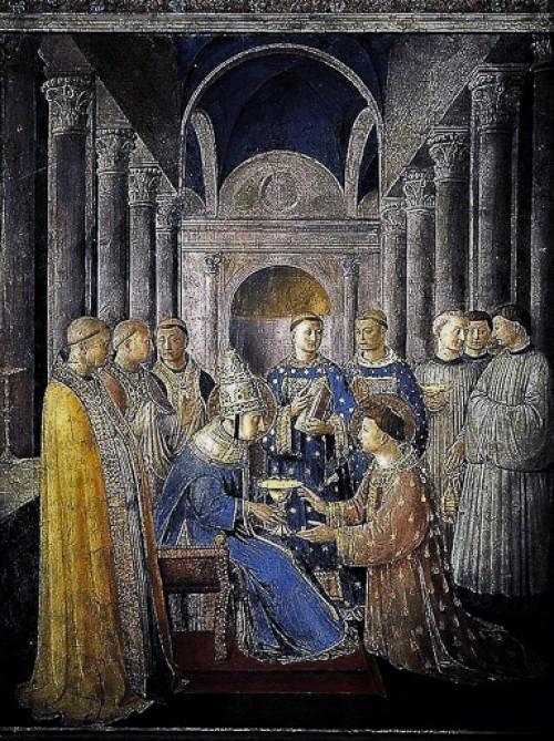 Papież Mikołaj V jako Sykstus II, Fra Angelico, kaplica Mikołaja (Cappella Niccolina) zdj. WIKIPEDIA