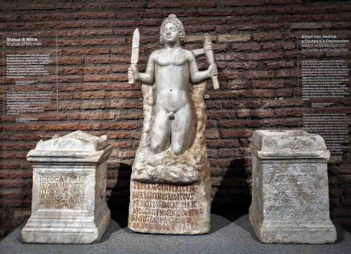 Altars and a statue from the sanctuary in the underground of the Church of San Stefano Rotondo, Museo Nazionale Romano, Palazzo Massimo alle Terme