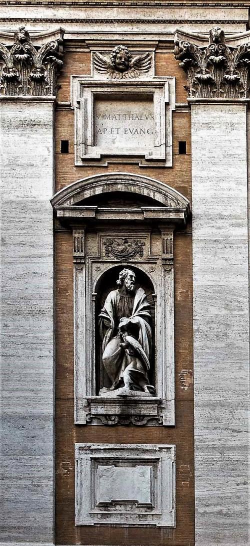Francesco Mochi, św. Mateusz Ewangelista, fasada kaplicy Paolińskiej, bazylika Santa Maria Maggiore