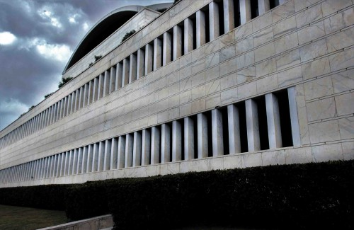 Palazzo dei Congressi in the EUR district, side view