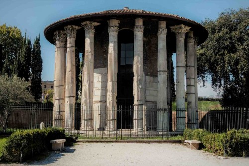 The Temple of Hercules in its restored form during the times of Mussolini