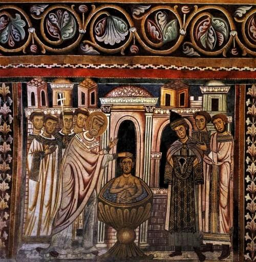 Oratorio San Silvestro przy kościele Santi Quattro Coronati, chrzest cesarza Konstantyna przez biskupa Sylwestra