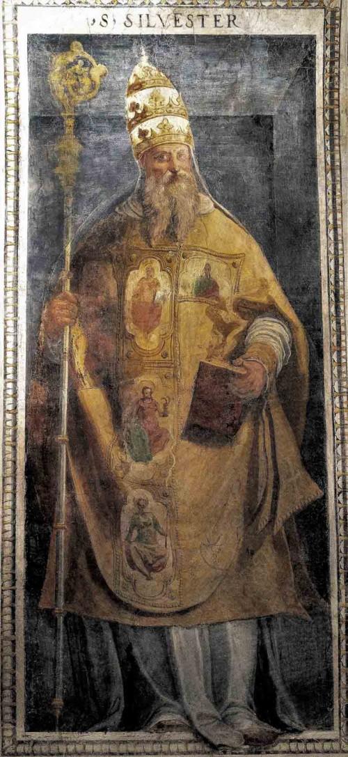 Oratorio San Silvestro przy kościele Santi Quattro Coronati, fresk tęczy - papież Sylwester I