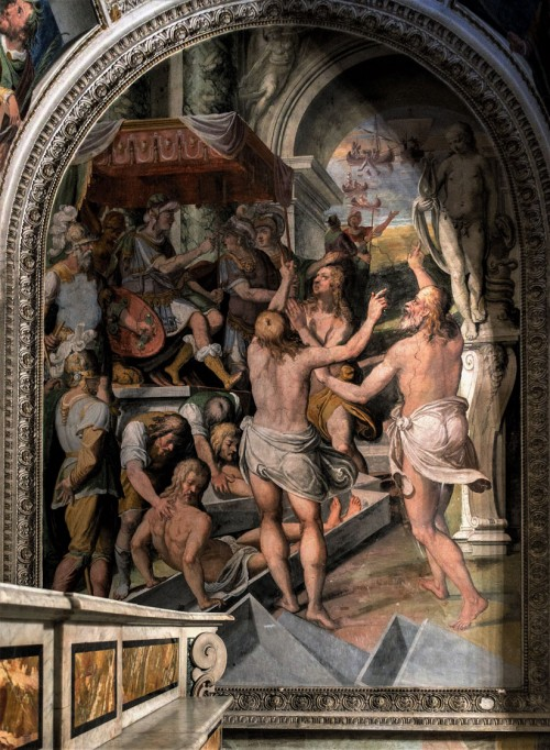Oratorio San Silvestro przy kosciele Santi Quattro Coronati, freski absydy - męczeństwo Czterech Koronatów