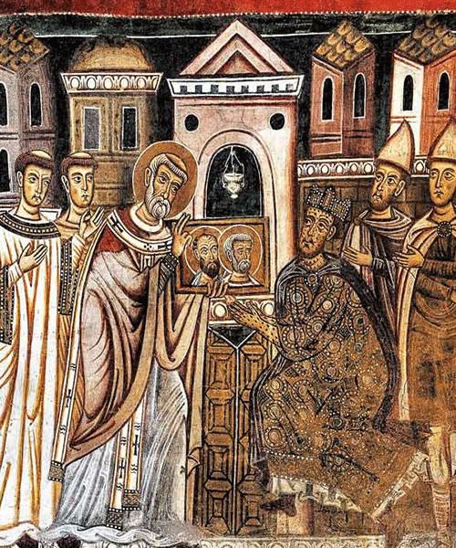 Oratorio San Silvestro przy kościele Santi Quattro Coronati, papież pokazuje cesarzowi wizerunki apostołów