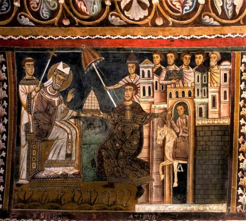 Oratorio San Silvestro przy kościele Santi Quattro Coronati, scena oddania frygium papieżowi