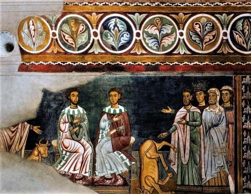 Oratorio San Silvestro przy kościele Santi Quattro Coronati, scena przywrócenia życia ofiarnemu bykowi przez Sylwestra