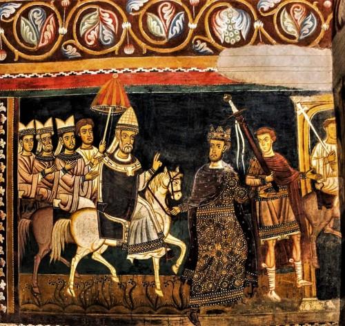 Oratorio San Silvestro przy kościele Santi Quattro Coronati, scena wprowadzenia papieża do Rzymu i przekazania mu  miasta we władanie