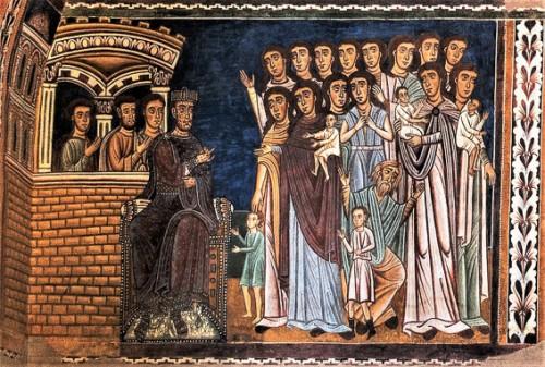 Oratorio San Silvestro przy kościele Santi Quattro Coronati, scena z matkami błagającymi cesarza Konstantyna o ratunek dla swych dzieci