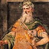Oratorio San Silvestro przy kościele Santi Quattro Coronati, fresk tęczy ukazujący cesarza Konstantyna Wielkiego