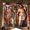 Oratorio San Silvestro przy kościele Santi Quattro Coronati, fresk ukazujący Czterech Koronatów w nadprożu wejścia