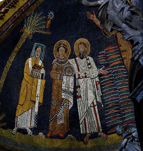 Church of Santa Prassede, mosaic in the apse, Pope Paschalis I with the model of the church