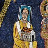 Church of Santa Prassede, mosaic in the apse, Pope Paschalis I with a model of the church funded by him