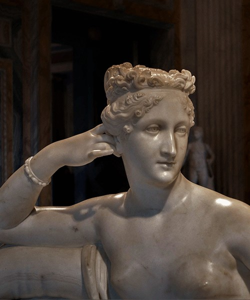 Pauline Borghese as the Venus Victrix, fragment, Antonio Canova, Galleria Borghese