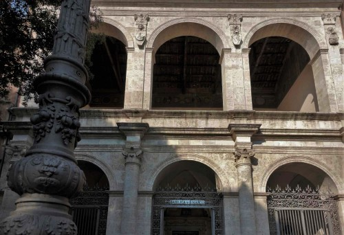 Renaissance loggia of the Church of San Marco with the coats of arms of the Barbo family and an image of St. Marc