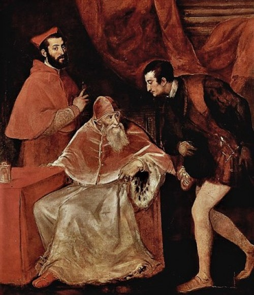 Portrait of Paul III with grandsons/nepots, Titian, pic. WIKIPEDIA