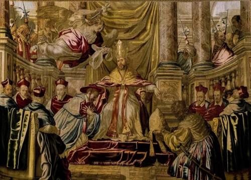 Papież Paweł V wynoszący Maffeo Barberiniego do rangi kardynała, Manufaktura Barberinich, Musei Vaticani