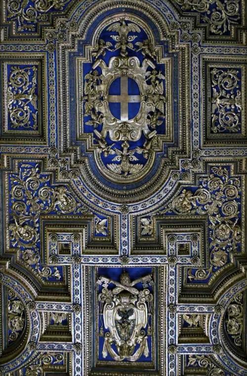 Sala Regia, kasetonowy sufit z emblematami rodu Borghese, Palazzo del Quirinale