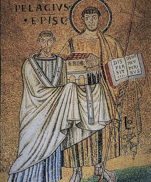 Papież Pelagiusz II (ukazany jako fundator kościoła) adorowany przez św. Wawrzyńca, kościół San Lorenzo fuori le mura