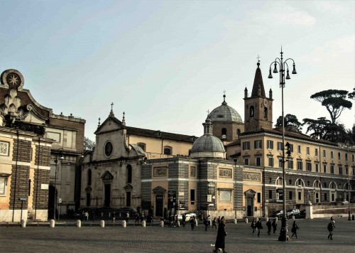 Piazza del Popolo, façade of the Church of Santa Maria del Popolo and buildings of the old Augustinian monastery