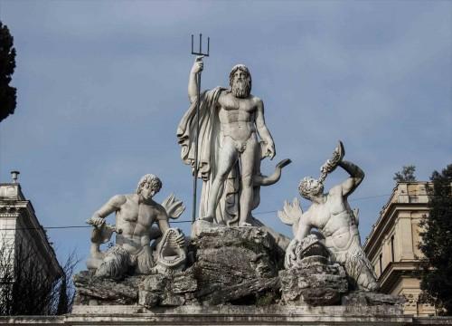 Piazza del Popolo, Neptun i trytony, dekoracje eksedry zachodniej