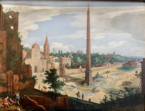 Piazza del Popolo, ok. 1615 r., weduta - Willem van Nieulandt, Museo di Roma, Palazzo Braschi