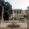 Piazza del Popolo, exedra – the Goddess Roma and the personifications of the Tiber and Arno Rivers