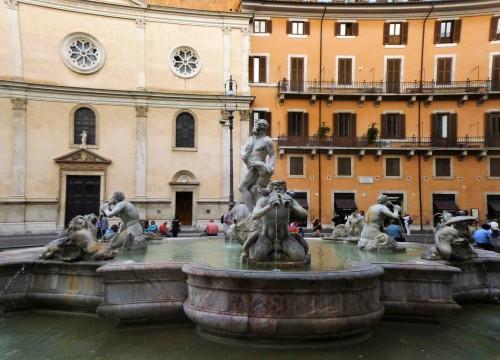 Piazza Navona, Fontana del Moro, Church of Nostra Signora del Sacro Cuore in the background
