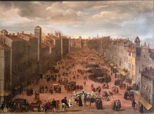 Piazza Navona, widok placu przed powstaniem fontanny Czterech Rzek, Museo di Roma, Palazzo Braschi