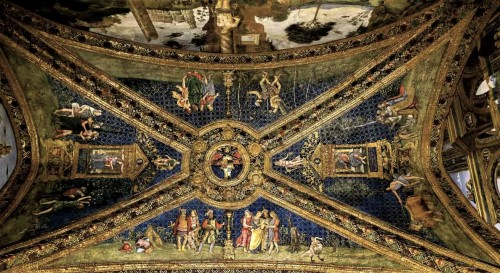 Pinturicchio, apartments of Pope Alexander VI (Sala dei Santi), vault with the Borgia coat of arms, Apostolic Palace