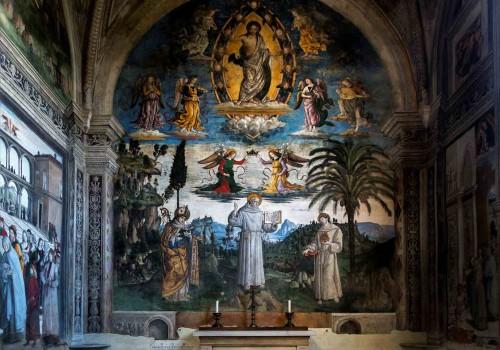Pinturicchio, Chwała św. Bernarda ze Sieny (Św. Bernard pomiędzy św. Ludwikiem i św. Antonim), Cappella Bufalini, kościół Santa Maria in Aracoeli