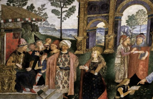 Pinturicchio, Dysputa św. Katarzyny (fragment), apartamenty papieża Aleksandra VI, pałac Apostolski