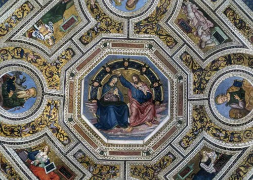 Pinturicchio, frescoes in the apse of the Basilica of Santa Maria del Popolo, The Coronation of Our Lady, Sibyls,  evangelists and Fathers of the Church