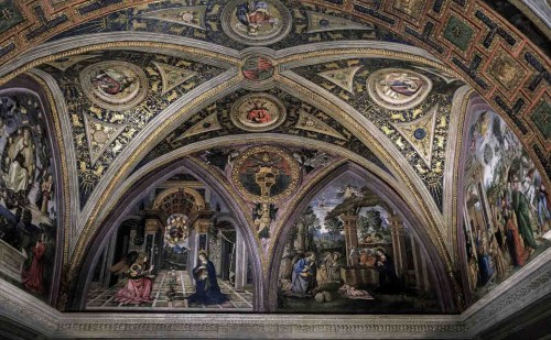 Pinturicchio, The Annunciation and the Adoration of the Shepherds, apartments of Pope Alexander VI (Sala dei Misteri), Apostolic Palace