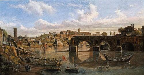 Ponte Rotto, Vanvitelli (Gaspar van Wittel), 1680, widok mostu z  XVII w., kolekcja prywatna, zdj. Wikipedia