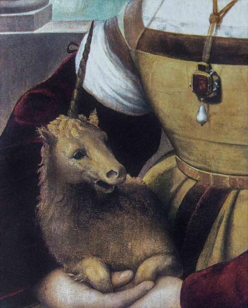 Portret damy z jednorożcem, Rafael, Galleria Borghese, fragment