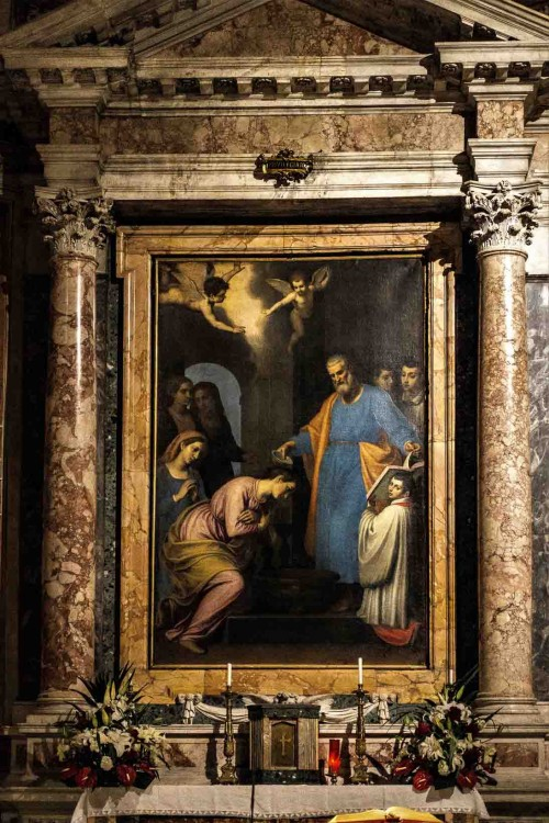 St. Prisca Baptized by St. Peter, painting in the main altar of the Church of Santa Prisca