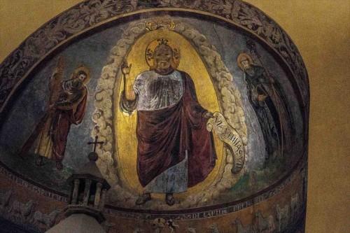 Kościół San Saba, freski absydy - Chrystus między św. Andrzejem i św. Sabą (po prawej)