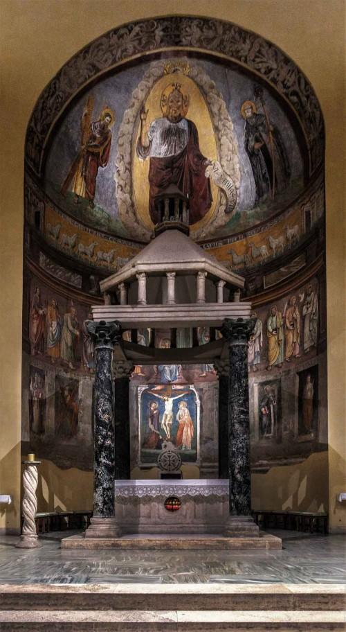 Kościół San Saba, zwieńczenie absydy - freski ukazujące Chrystusa w otoczeniu św. Saby (po prawej) i św. Andrzeja