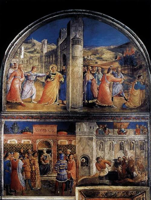 Fresk z przedstawieniem wypędzanego i kamienowanego Szczepana, Fra Angelico, kaplica Mikołaja V, pałac Apostolski, zdj. Wikipedia