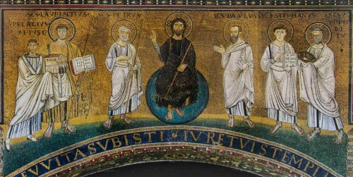 Mosaic on the triumphal arch of the Church of San Lorenzo fuori le mura. St. Stephen on the right