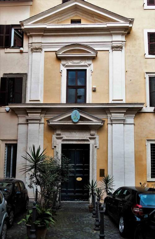 The modern façade of the Church of San Stefano del Cacco